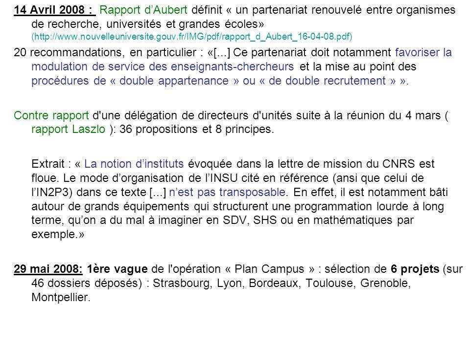14 Avril 2008 : Rapport dAubert définit « un partenariat renouvelé entre organismes de recherche, universités et grandes écoles» (http://www.nouvelleu