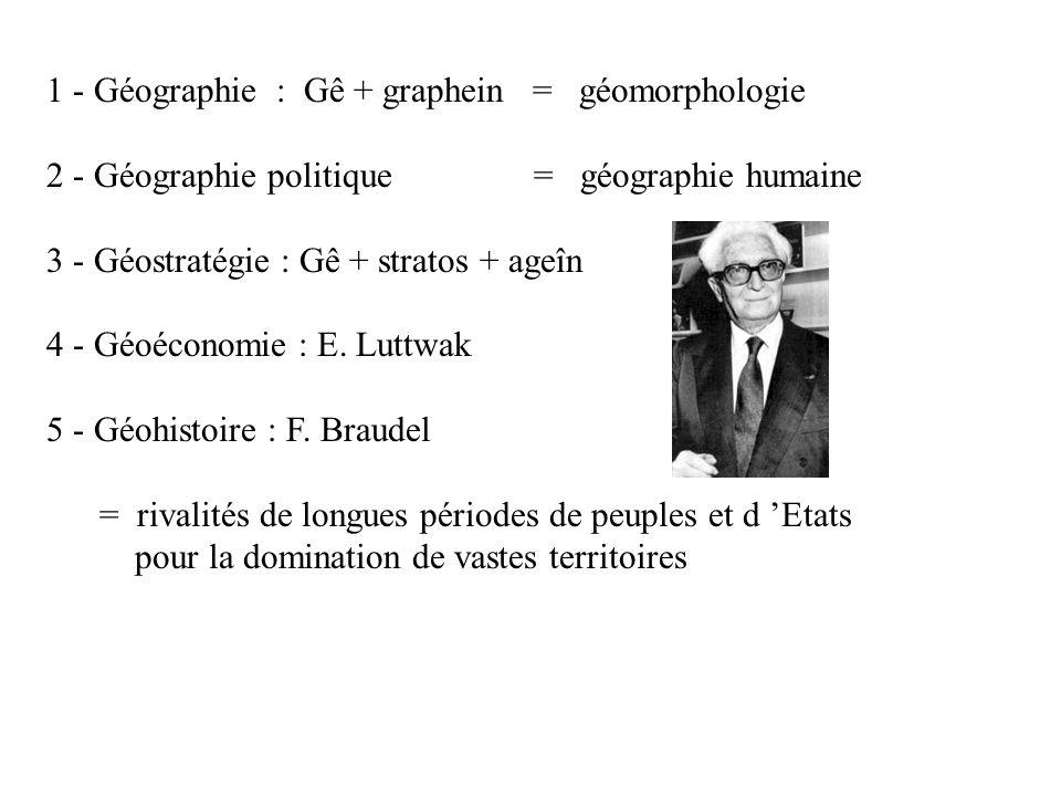 1 - Géographie : Gê + graphein = géomorphologie 2 - Géographie politique = géographie humaine 3 - Géostratégie : Gê + stratos + ageîn 4 - Géoéconomie