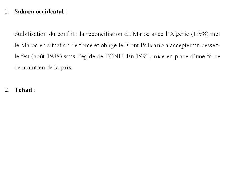 1988 : Réconciliation du Maroc et de l Algérie Le Front Polisario doit accepter cessez-le-feu 1991 : Force de maintien de la Paix.