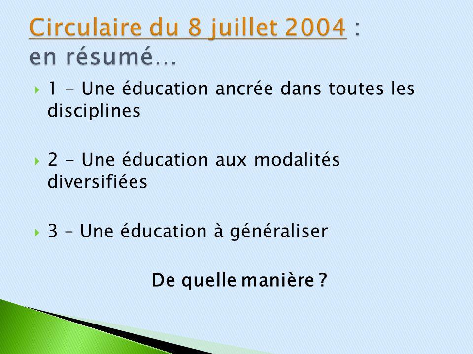 1 - Une éducation ancrée dans toutes les disciplines 2 - Une éducation aux modalités diversifiées 3 – Une éducation à généraliser De quelle manière ?
