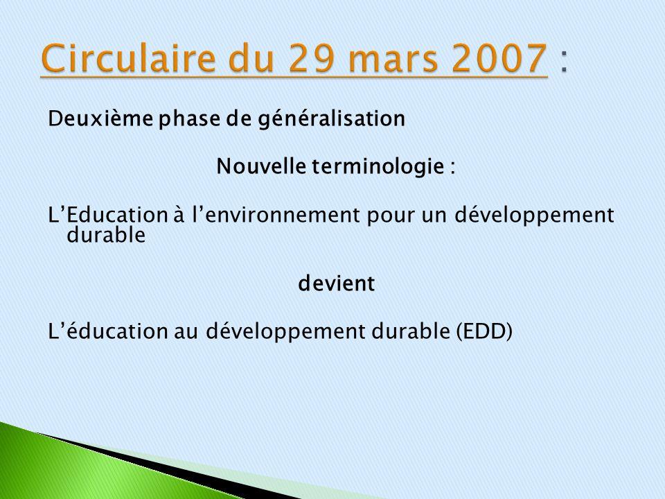 Deuxième phase de généralisation Nouvelle terminologie : LEducation à lenvironnement pour un développement durable devient Léducation au développement