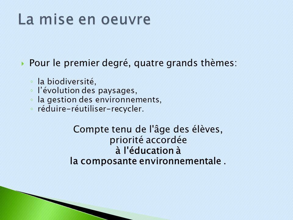 Pour le premier degré, quatre grands thèmes: la biodiversité, lévolution des paysages, la gestion des environnements, réduire-réutiliser-recycler. Com