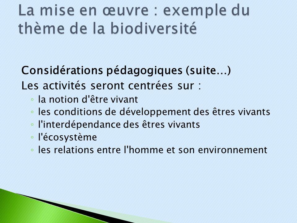 Considérations pédagogiques (suite…) Les activités seront centrées sur : la notion d'être vivant les conditions de développement des êtres vivants l'i
