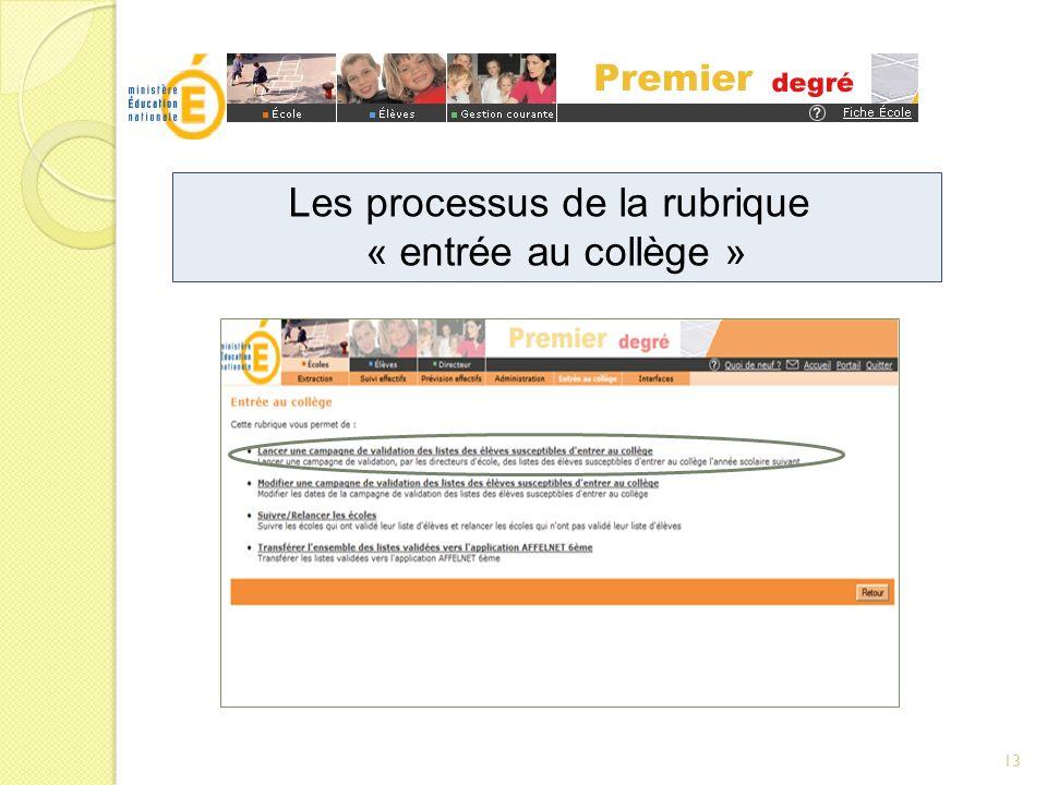 Les processus de la rubrique « entrée au collège » 13