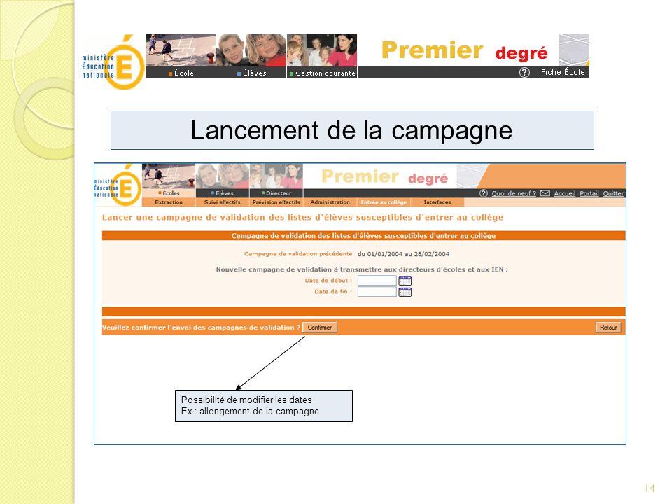 Possibilité de modifier les dates Ex : allongement de la campagne Lancement de la campagne 14