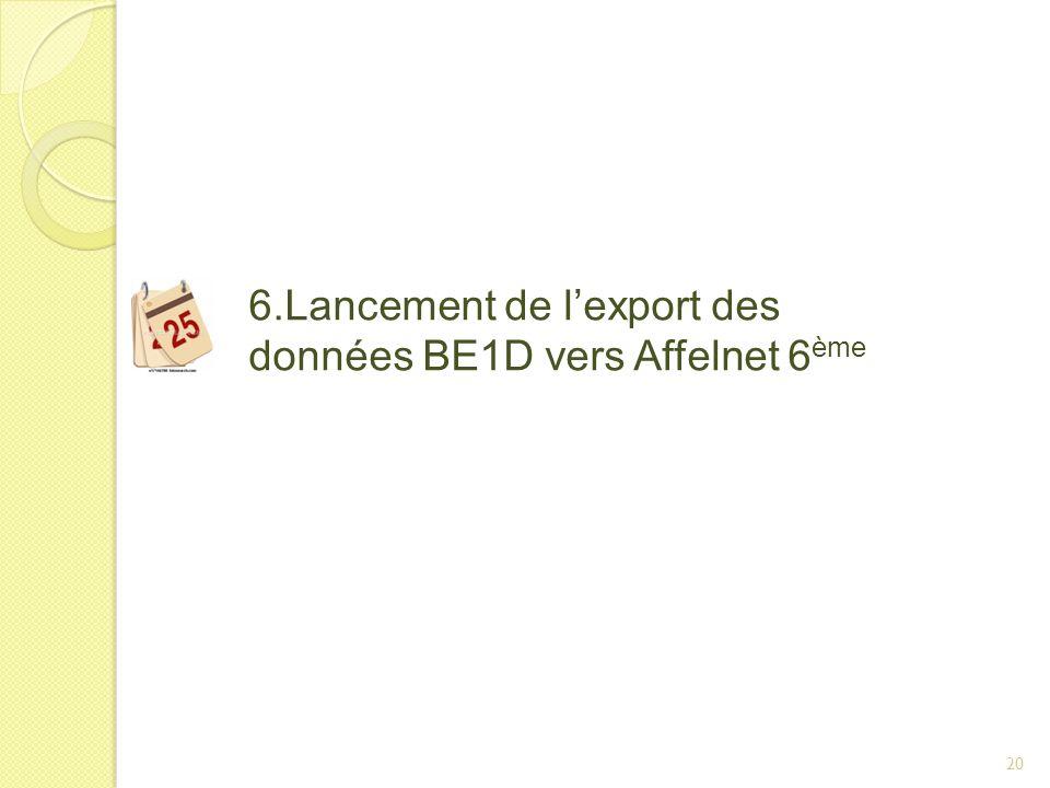 20 6.Lancement de lexport des données BE1D vers Affelnet 6 ème