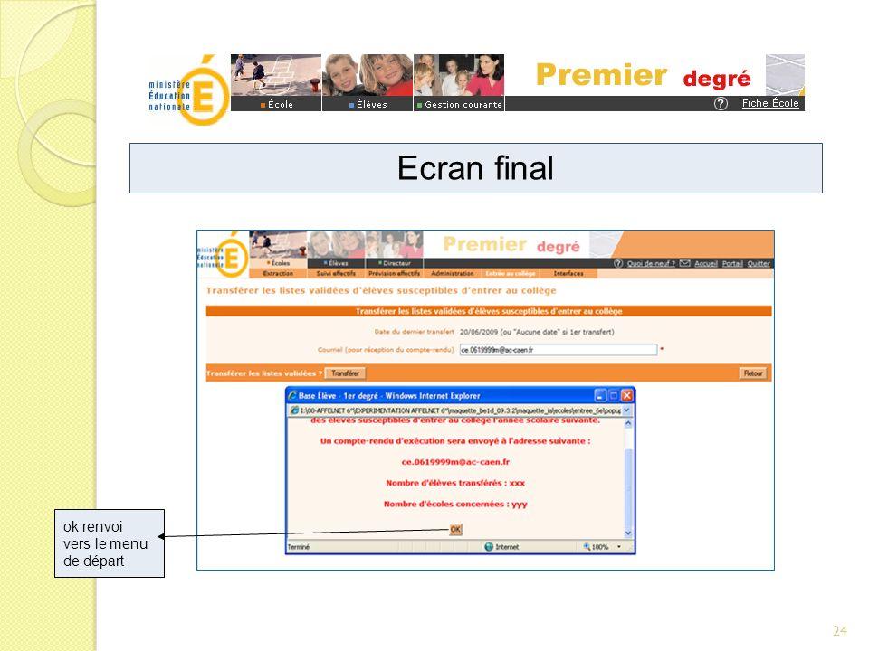 ok renvoi vers le menu de départ Ecran final 24