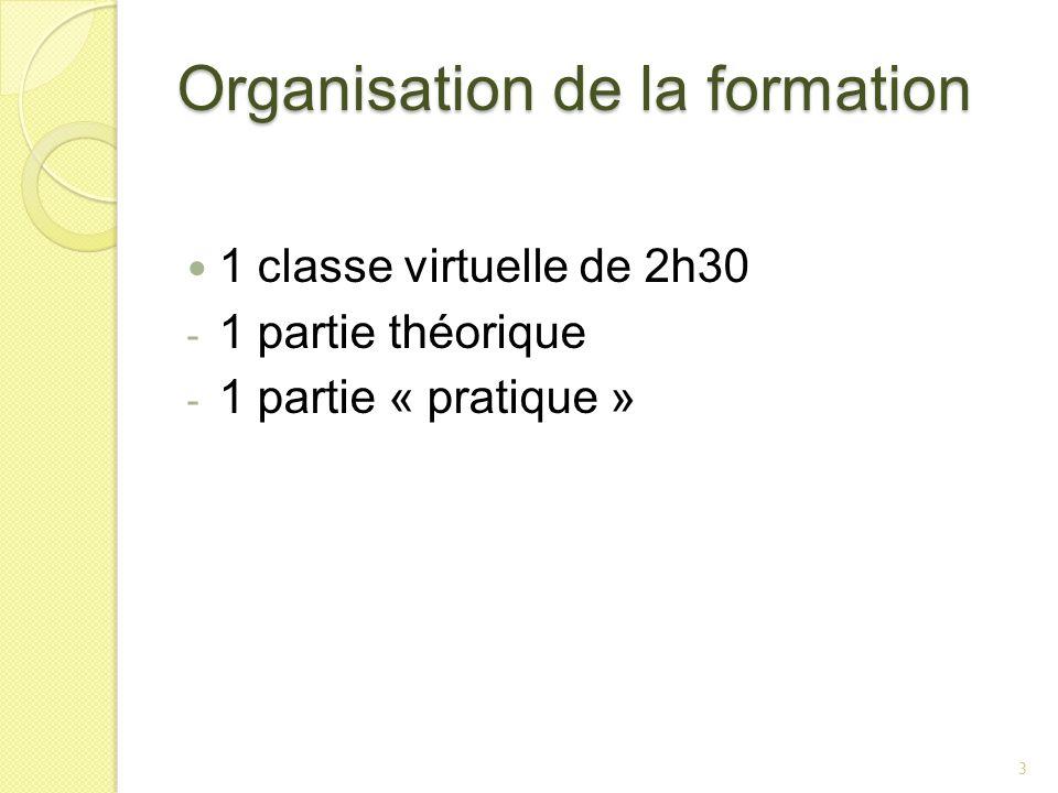 Organisation de la formation 1 classe virtuelle de 2h30 - 1 partie théorique - 1 partie « pratique » 3