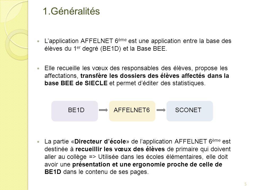 1.Généralités Lapplication AFFELNET 6 ème est une application entre la base des élèves du 1 er degré (BE1D) et la Base BEE. Elle recueille les vœux de