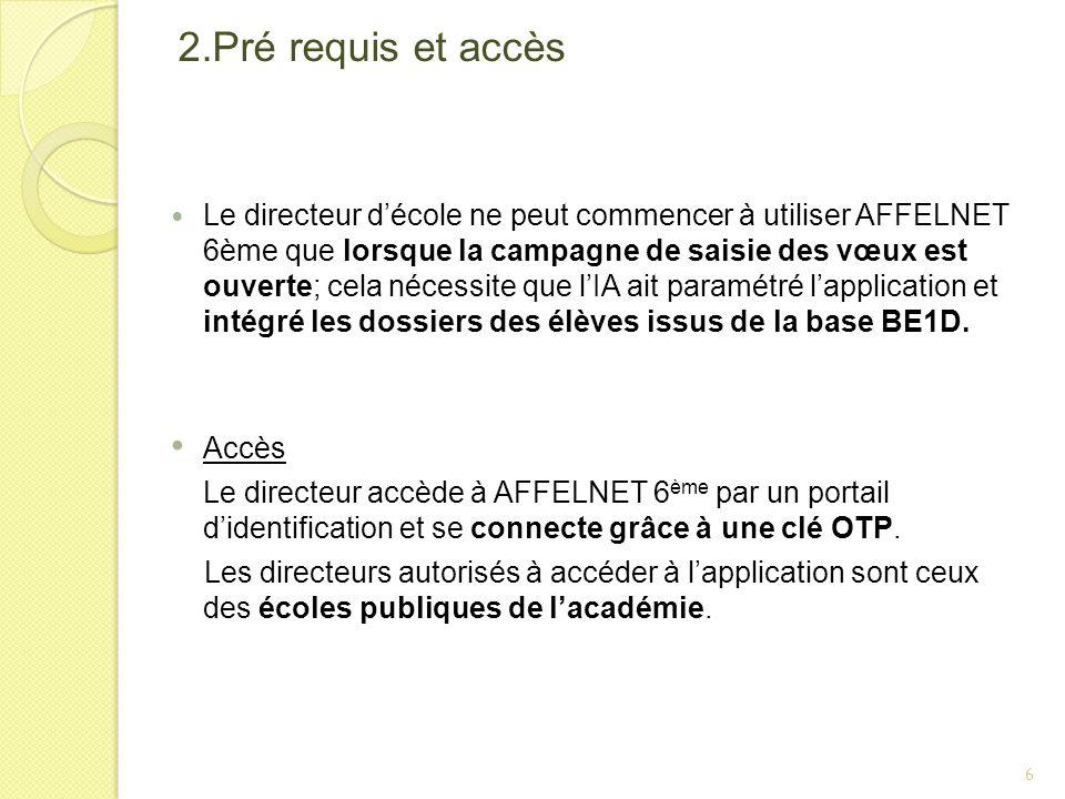 2.Pré requis et accès Le directeur décole ne peut commencer à utiliser AFFELNET 6ème que lorsque la campagne de saisie des vœux est ouverte; cela néce