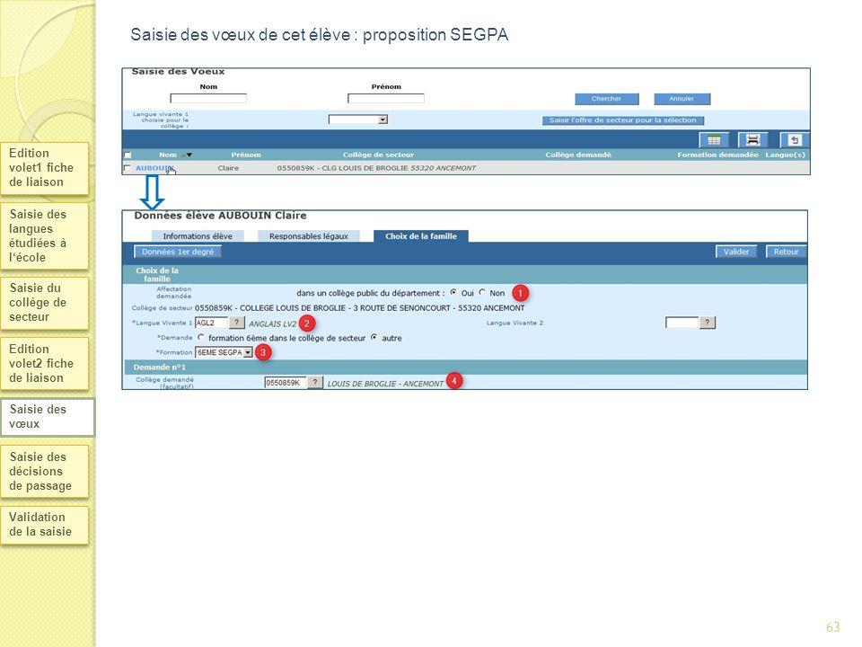 63 Saisie des vœux de cet élève : proposition SEGPA Edition volet1 fiche de liaison Saisie des langues étudiées à lécole Saisie du collège de secteur
