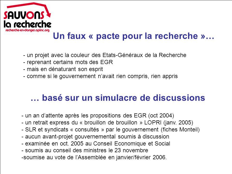 Un faux « pacte pour la recherche »… … basé sur un simulacre de discussions - un projet avec la couleur des Etats-Généraux de la Recherche - reprenant certains mots des EGR - mais en dénaturant son esprit - comme si le gouvernement navait rien compris, rien appris - un an dattente après les propositions des EGR (oct 2004) - un retrait express du « brouillon de brouillon » LOPRI (janv.