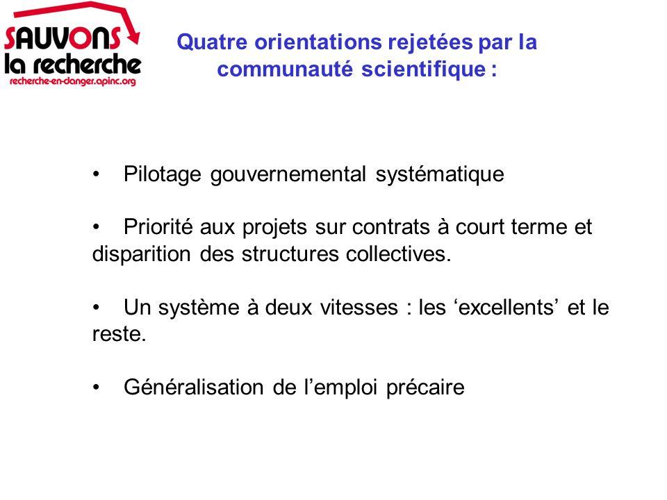 Pilotage gouvernemental systématique Priorité aux projets sur contrats à court terme et disparition des structures collectives.