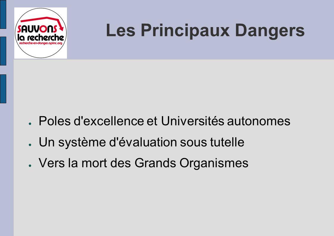 Les Principaux Dangers Poles d excellence et Universités autonomes Un système d évaluation sous tutelle Vers la mort des Grands Organismes