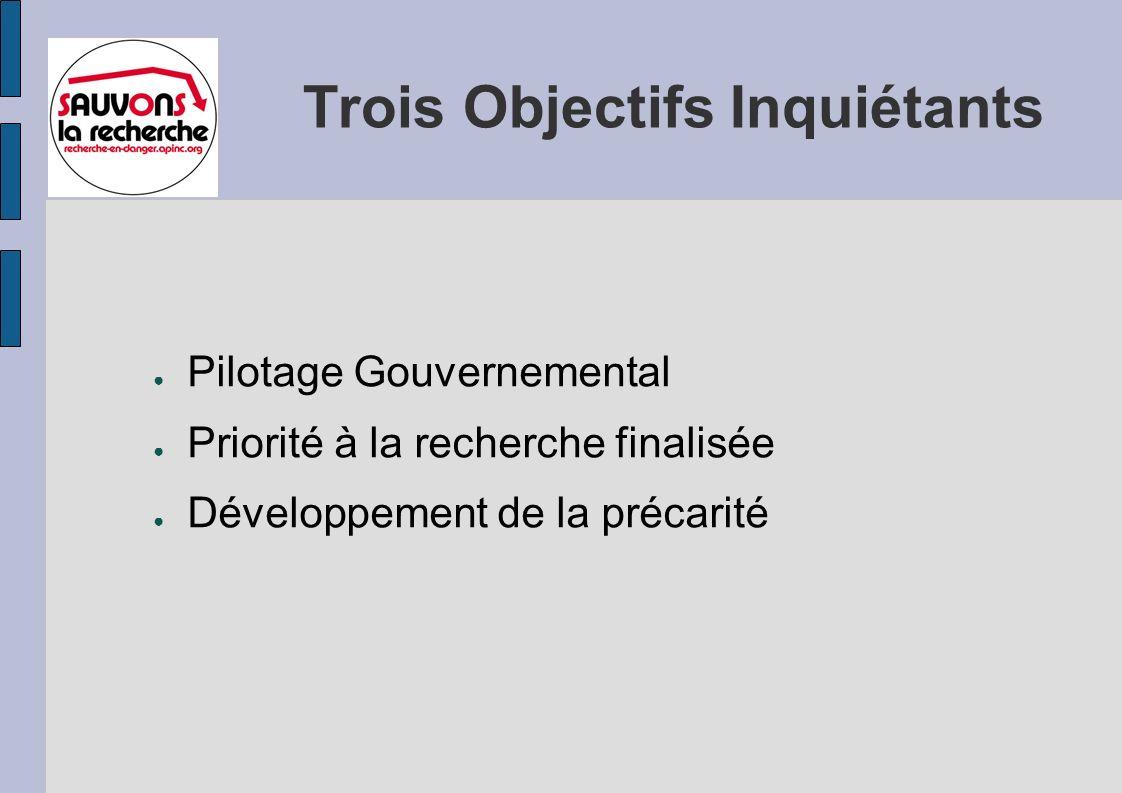 Trois Objectifs Inquiétants Pilotage Gouvernemental Priorité à la recherche finalisée Développement de la précarité