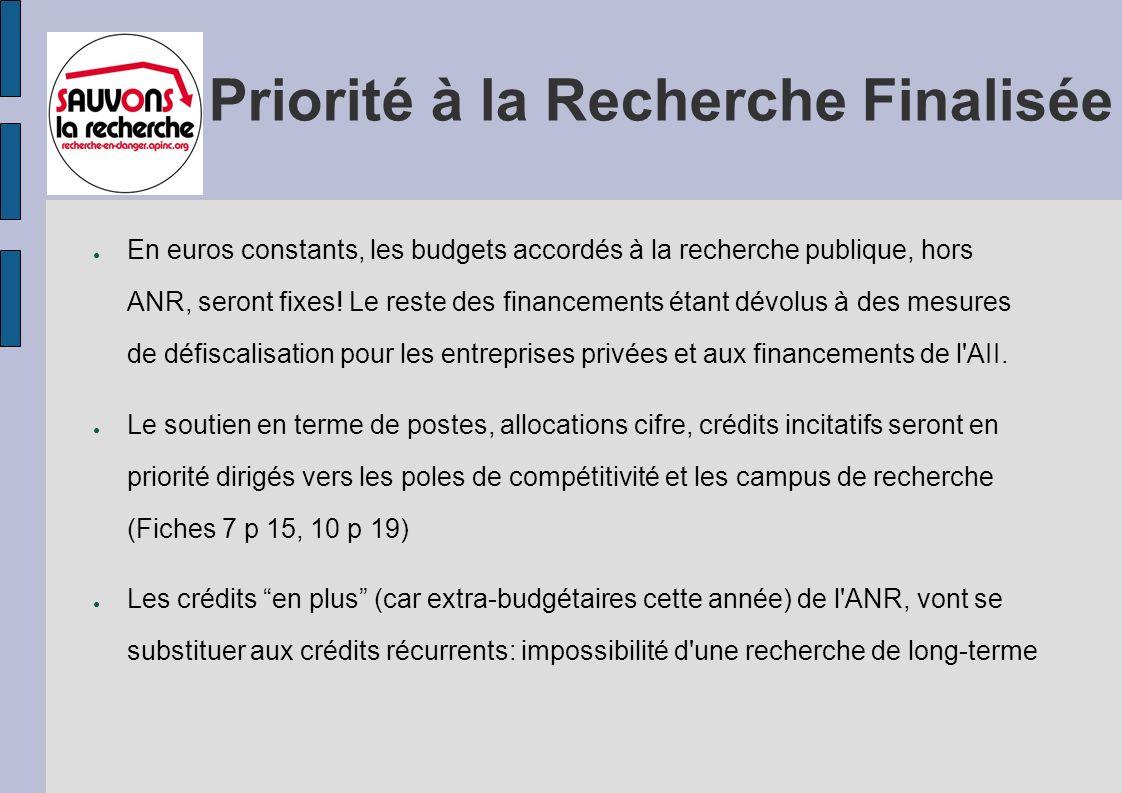 Priorité à la Recherche Finalisée En euros constants, les budgets accordés à la recherche publique, hors ANR, seront fixes.