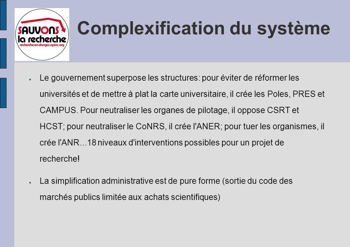 Complexification du système Le gouvernement superpose les structures: pour éviter de réformer les universités et de mettre à plat la carte universitaire, il crée les Poles, PRES et CAMPUS.