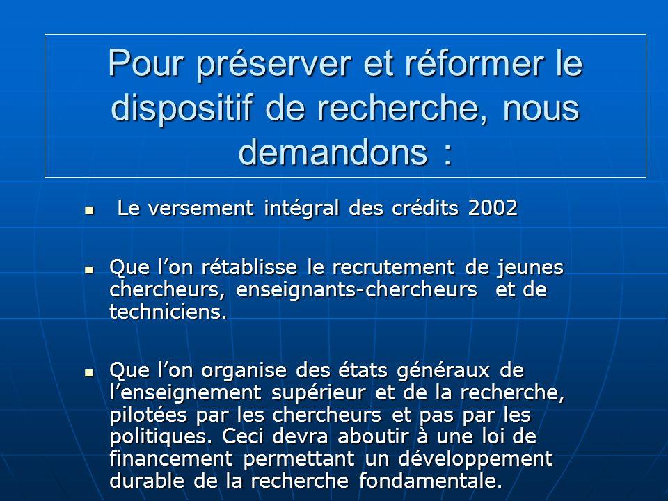 Pour préserver et réformer le dispositif de recherche, nous demandons : Le versement intégral des crédits 2002 Le versement intégral des crédits 2002 Que lon rétablisse le recrutement de jeunes chercheurs, enseignants-chercheurs et de techniciens.