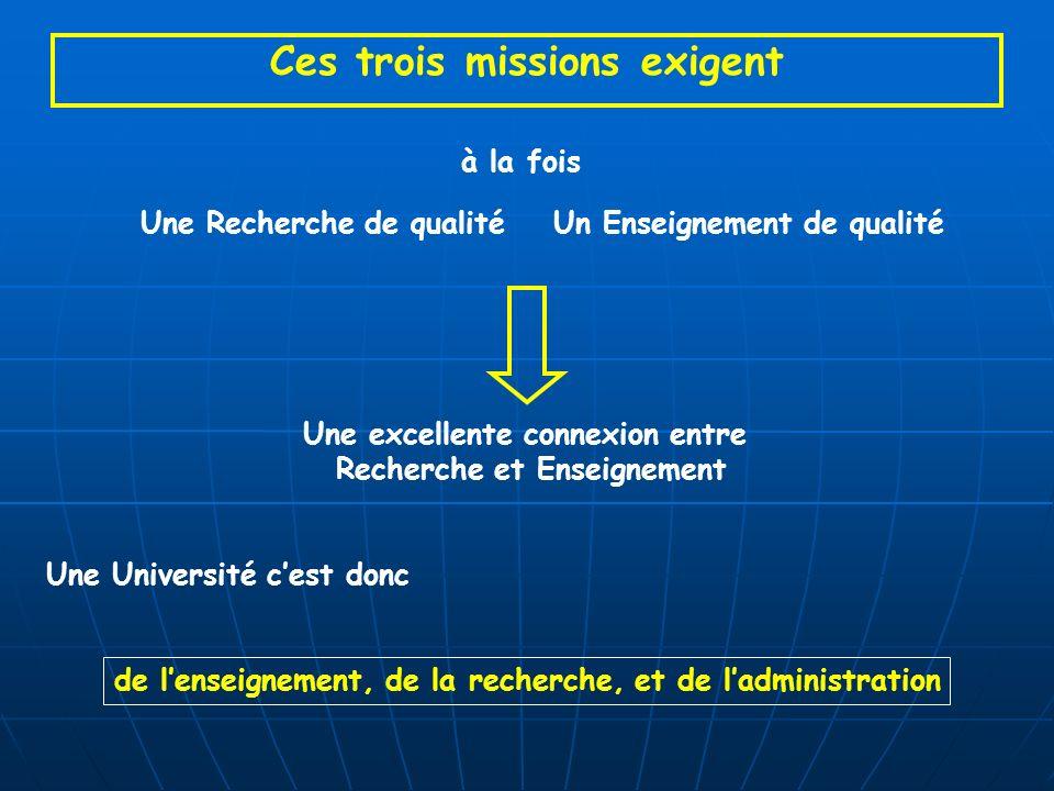 Ces trois missions exigent à la fois Une Recherche de qualitéUn Enseignement de qualité Une excellente connexion entre Recherche et Enseignement Une Université cest donc de lenseignement, de la recherche, et de ladministration