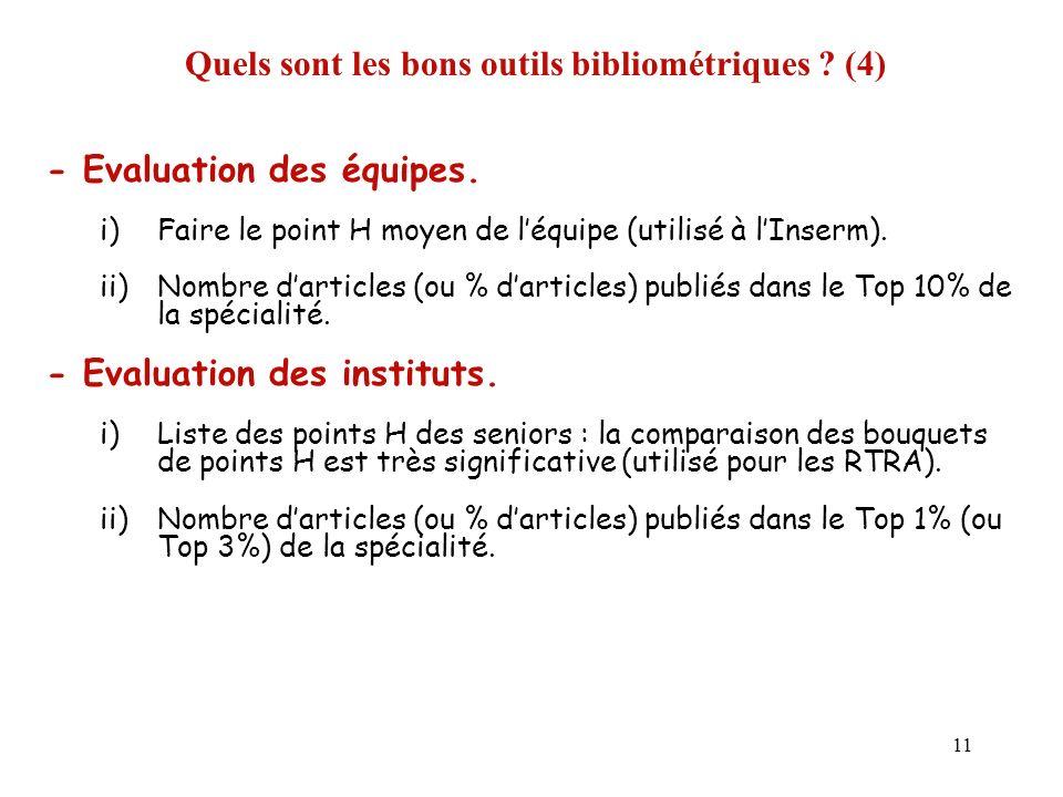 11 Quels sont les bons outils bibliométriques ? (4) - Evaluation des équipes. i)Faire le point H moyen de léquipe (utilisé à lInserm). ii)Nombre darti