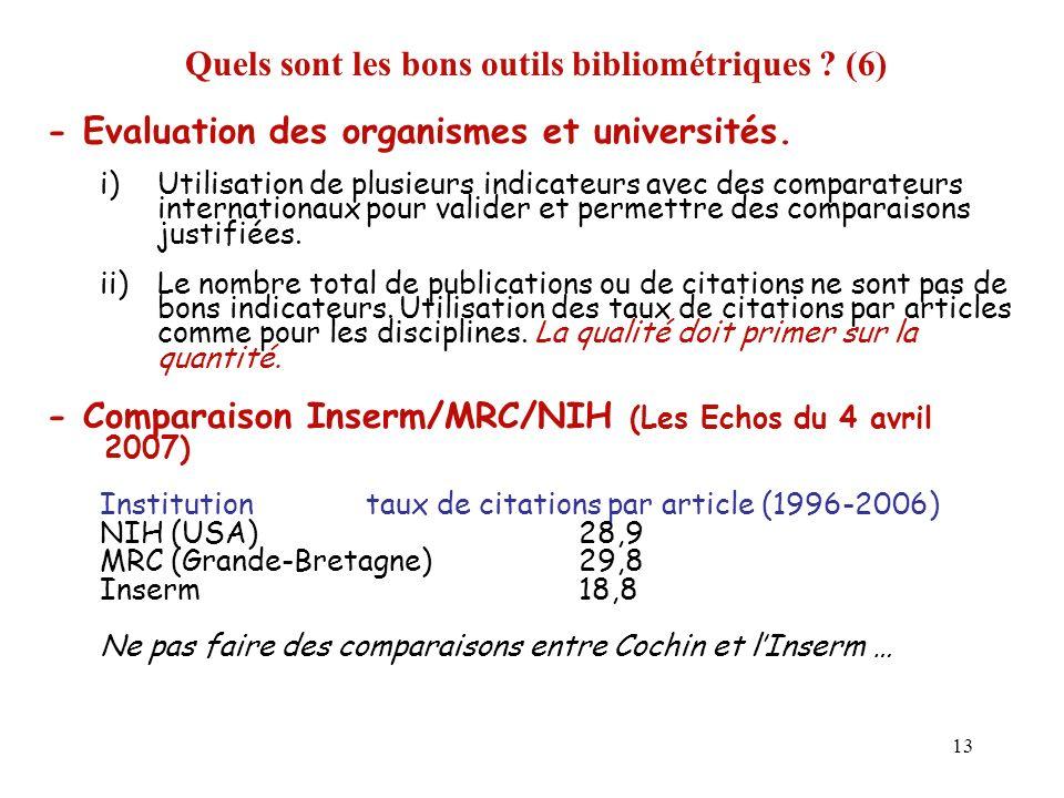 13 Quels sont les bons outils bibliométriques ? (6) - Evaluation des organismes et universités. i)Utilisation de plusieurs indicateurs avec des compar