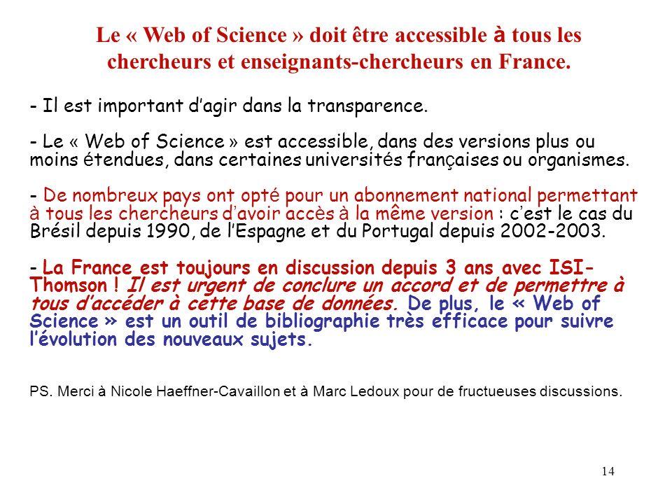 14 Le « Web of Science » doit être accessible à tous les chercheurs et enseignants-chercheurs en France. - Il est important dagir dans la transparence