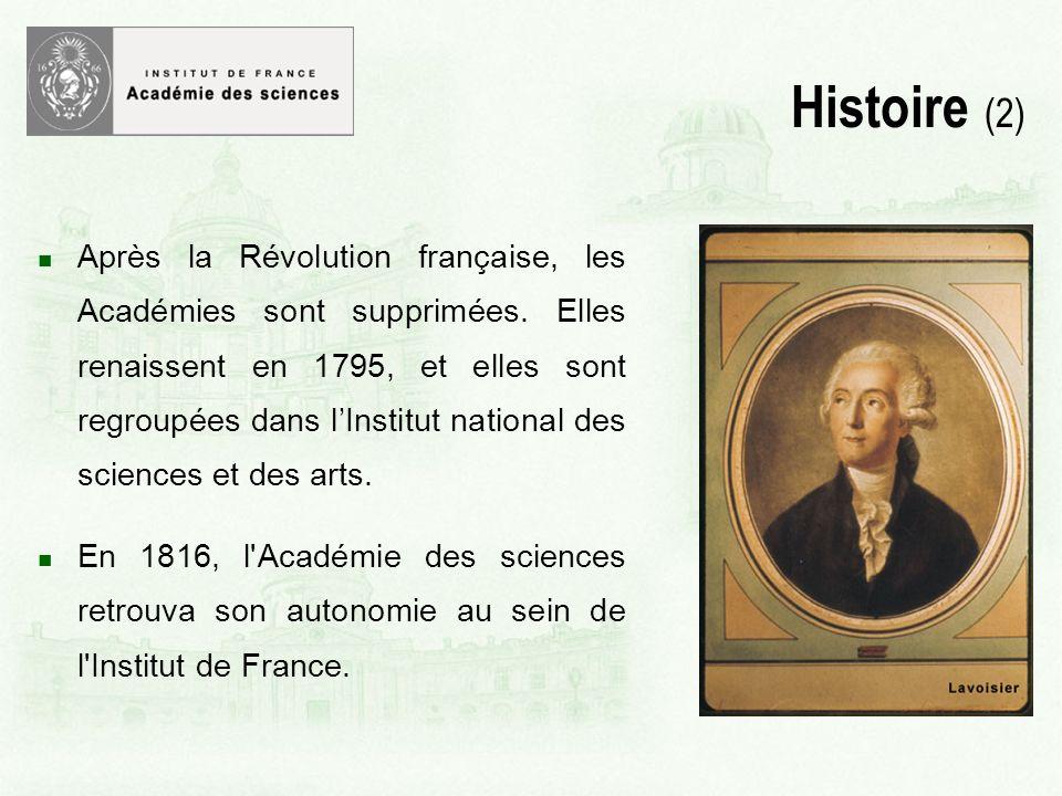 Après la Révolution française, les Académies sont supprimées.