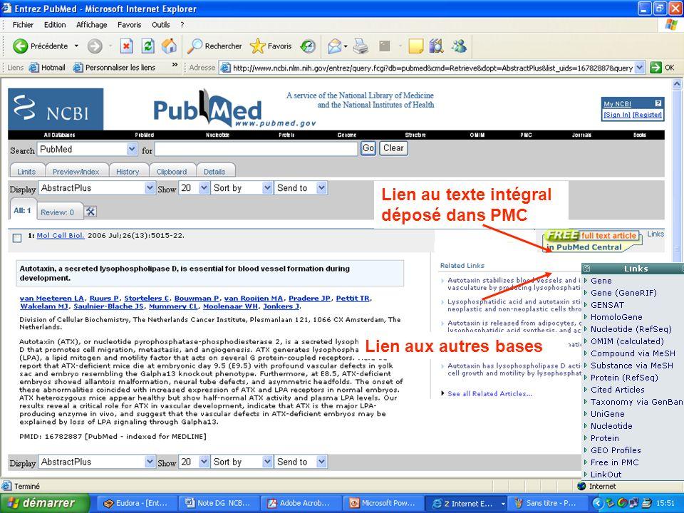 Académie des Sciences 14 mai 2007 Lien au texte intégral déposé dans PMC Lien aux autres bases