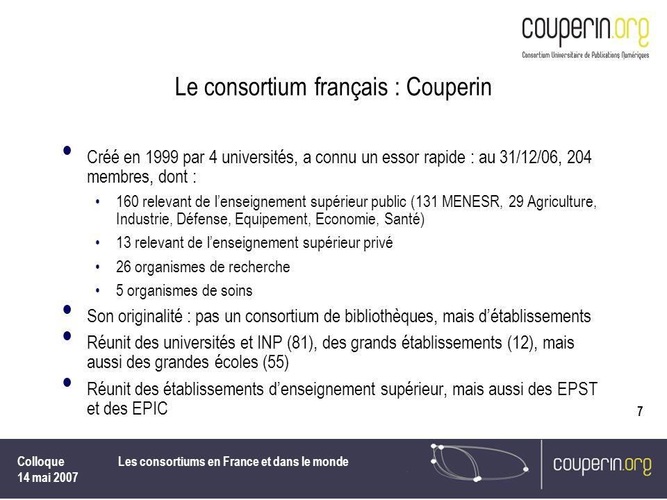 Colloque 14 mai 2007 Les consortiums en France et dans le monde 7 Le consortium français : Couperin Créé en 1999 par 4 universités, a connu un essor r