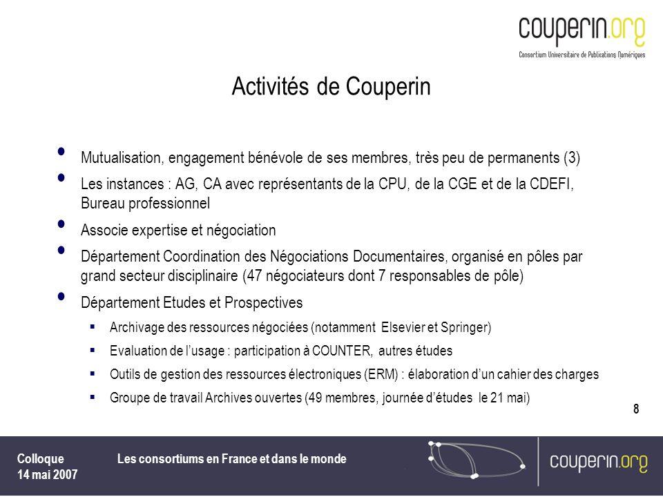 Colloque 14 mai 2007 Les consortiums en France et dans le monde 8 Activités de Couperin Mutualisation, engagement bénévole de ses membres, très peu de