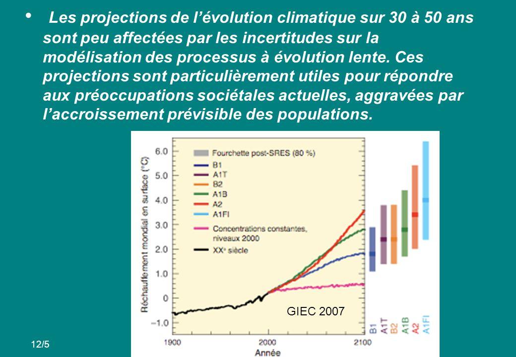 Les projections de lévolution climatique sur 30 à 50 ans sont peu affectées par les incertitudes sur la modélisation des processus à évolution lente.