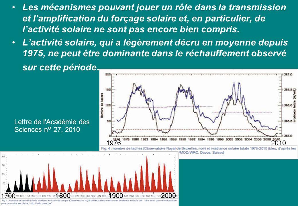 Les mécanismes pouvant jouer un rôle dans la transmission et lamplification du forçage solaire et, en particulier, de lactivité solaire ne sont pas encore bien compris.