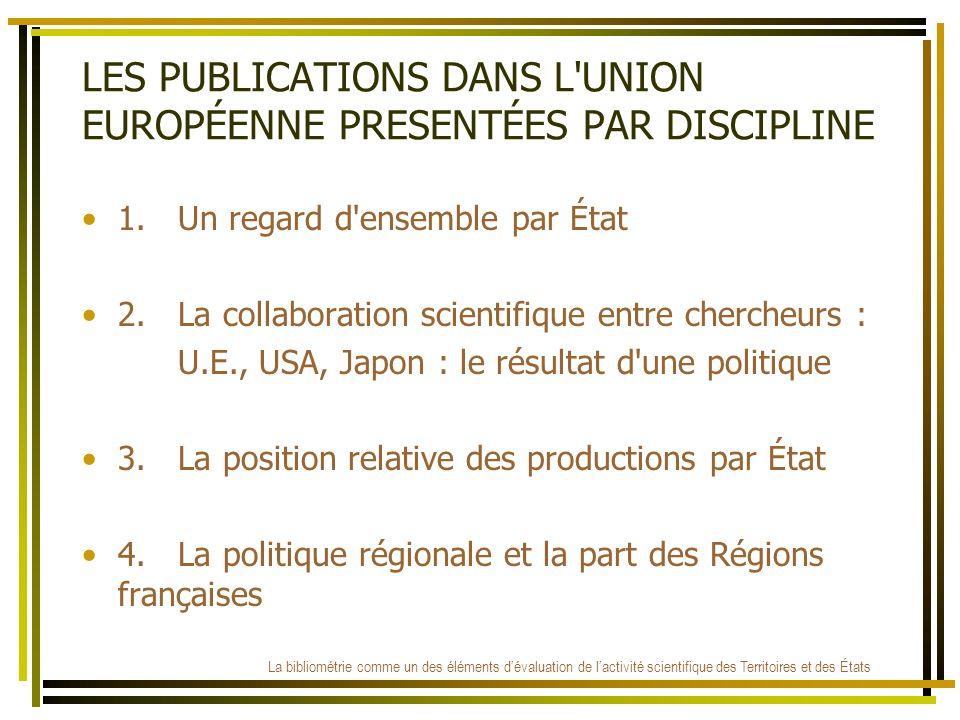 LES PUBLICATIONS DANS L'UNION EUROPÉENNE PRESENTÉES PAR DISCIPLINE 1.Un regard d'ensemble par État 2.La collaboration scientifique entre chercheurs :