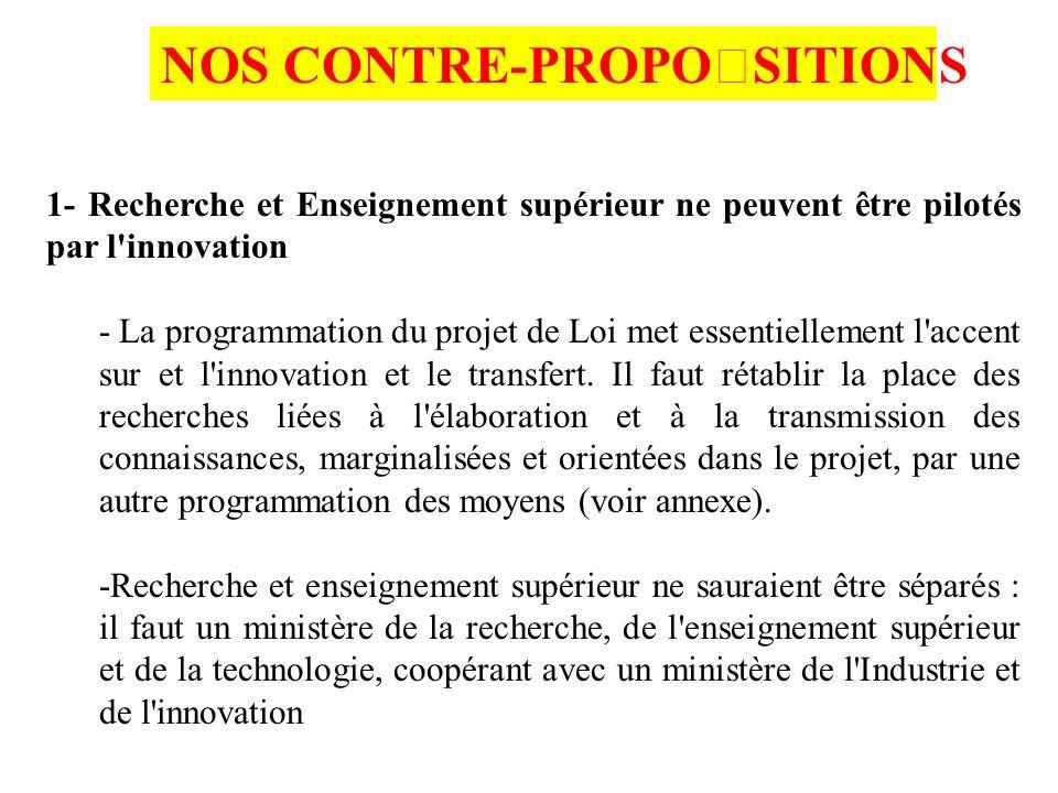 1- Recherche et Enseignement supérieur ne peuvent être pilotés par l innovation - La programmation du projet de Loi met essentiellement l accent sur et l innovation et le transfert.