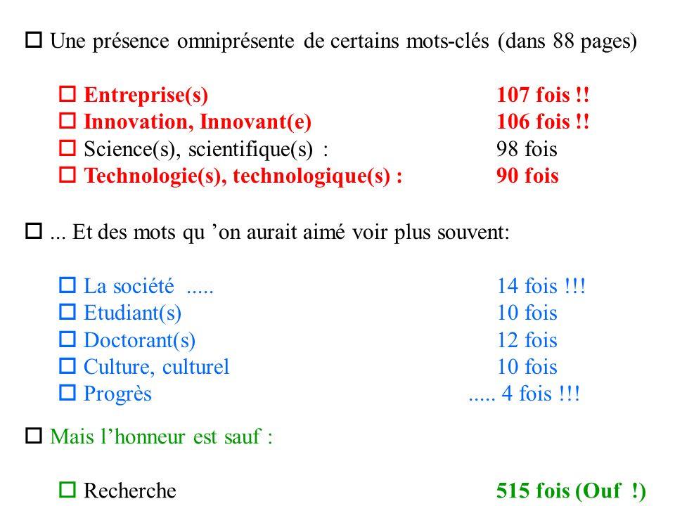 o Une présence omniprésente de certains mots-clés (dans 88 pages) o Entreprise(s) 107 fois !.