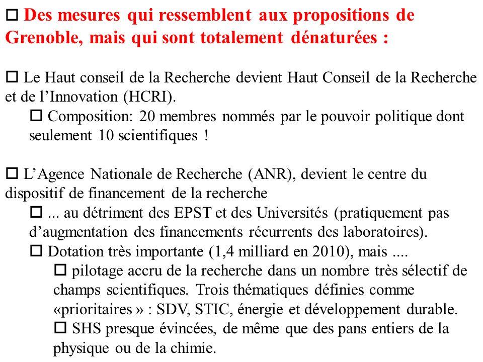 o Des mesures qui ressemblent aux propositions de Grenoble, mais qui sont totalement dénaturées : o Le Haut conseil de la Recherche devient Haut Conseil de la Recherche et de lInnovation (HCRI).