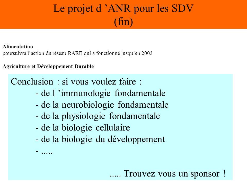 Alimentation poursuivra laction du réseau RARE qui a fonctionné jusquen 2003 Agriculture et Développement Durable Le projet d ANR pour les SDV (fin) Conclusion : si vous voulez faire : - de l immunologie fondamentale - de la neurobiologie fondamentale - de la physiologie fondamentale - de la biologie cellulaire - de la biologie du développement -..........