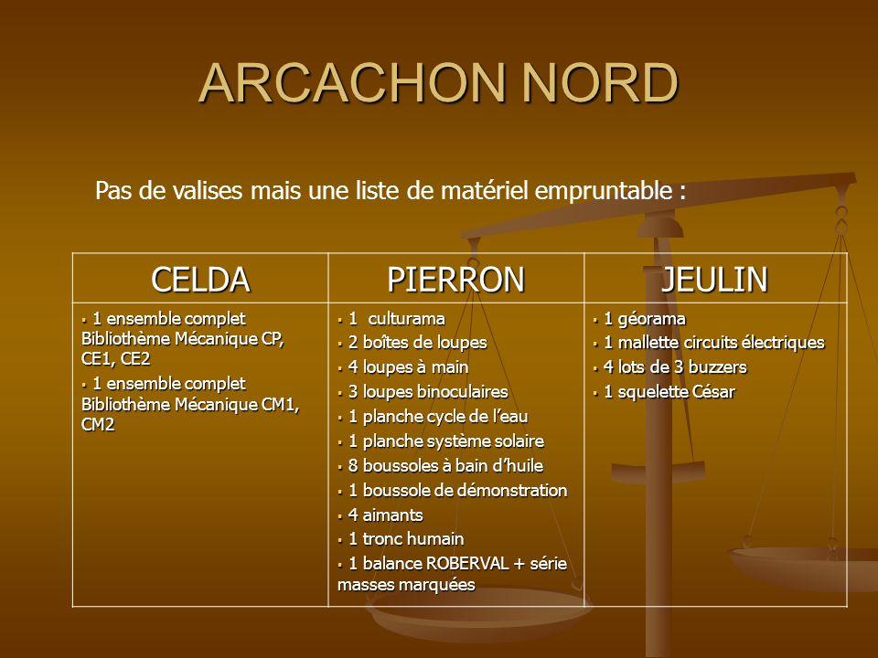 ARCACHON NORD Pas de valises mais une liste de matériel empruntable : CELDAPIERRONJEULIN 1 ensemble complet Bibliothème Mécanique CP, CE1, CE2 1 ensem