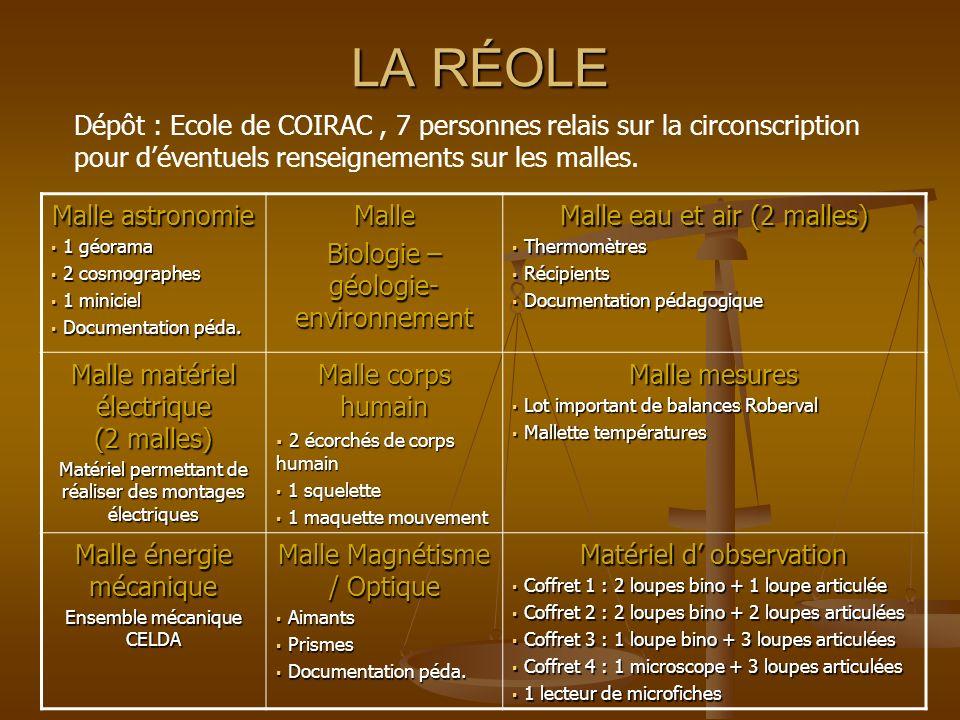 LA RÉOLE Malle astronomie 1 géorama 1 géorama 2 cosmographes 2 cosmographes 1 miniciel 1 miniciel Documentation péda. Documentation péda.Malle Biologi