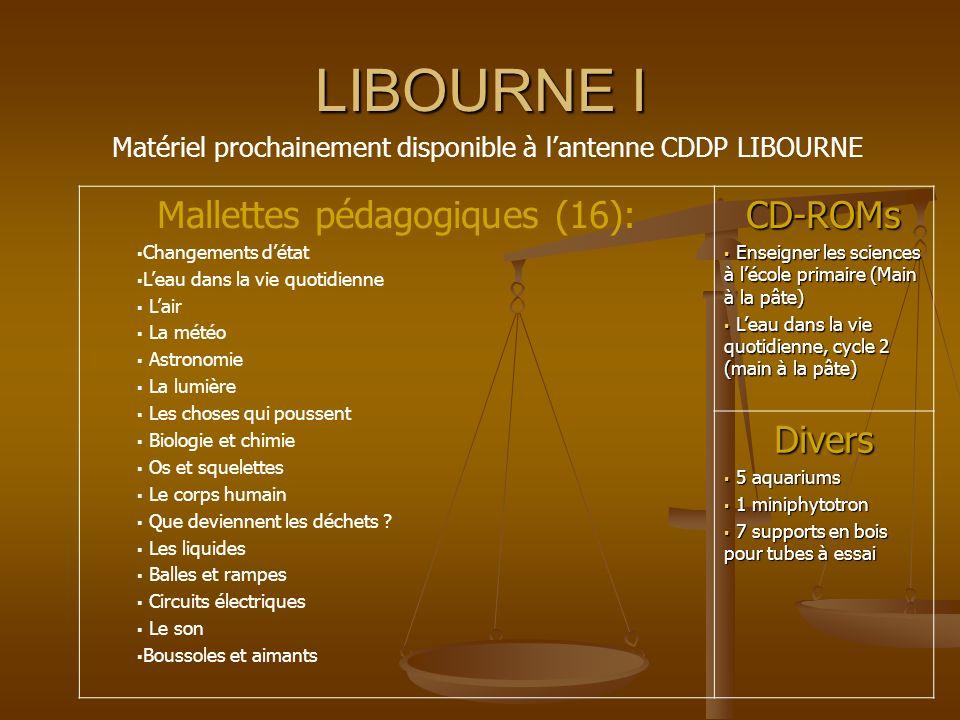 LIBOURNE I Matériel prochainement disponible à lantenne CDDP LIBOURNE Mallettes pédagogiques (16): Changements détat Leau dans la vie quotidienne Lair