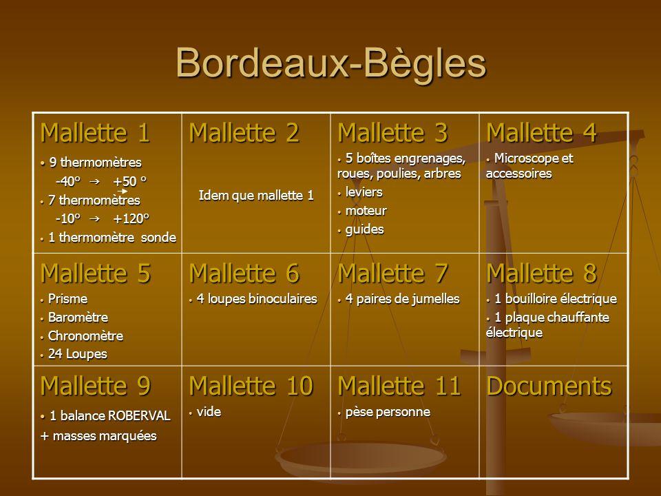 Bordeaux-Bègles Mallette 1 9 thermomètres 9 thermomètres -40° +50 ° -40° +50 ° 7 thermomètres 7 thermomètres -10° +120° -10° +120° 1 thermomètre sonde