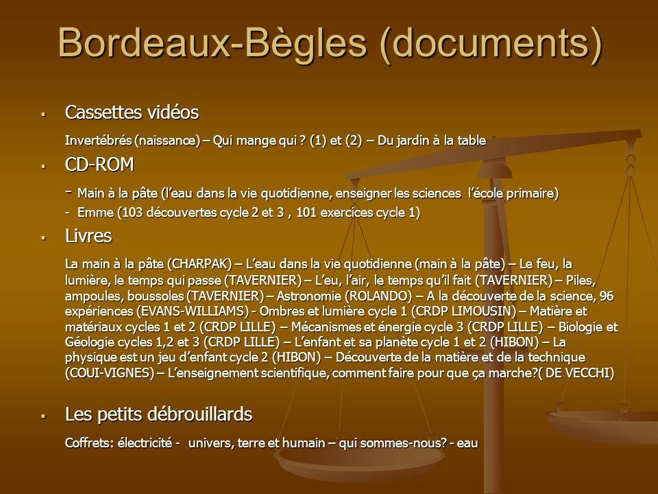 Bordeaux-Bègles (documents) Cassettes vidéos Cassettes vidéos Invertébrés (naissance) – Qui mange qui ? (1) et (2) – Du jardin à la table CD-ROM CD-RO