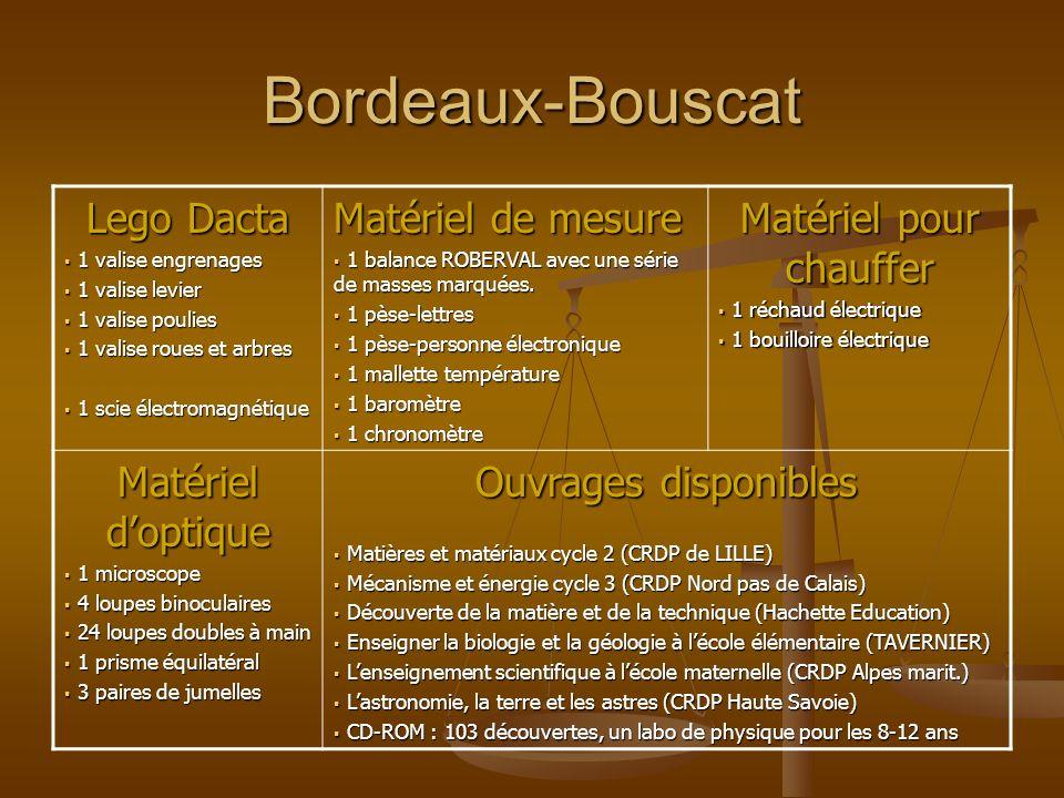 Bordeaux-Bouscat Lego Dacta 1 valise engrenages 1 valise engrenages 1 valise levier 1 valise levier 1 valise poulies 1 valise poulies 1 valise roues e
