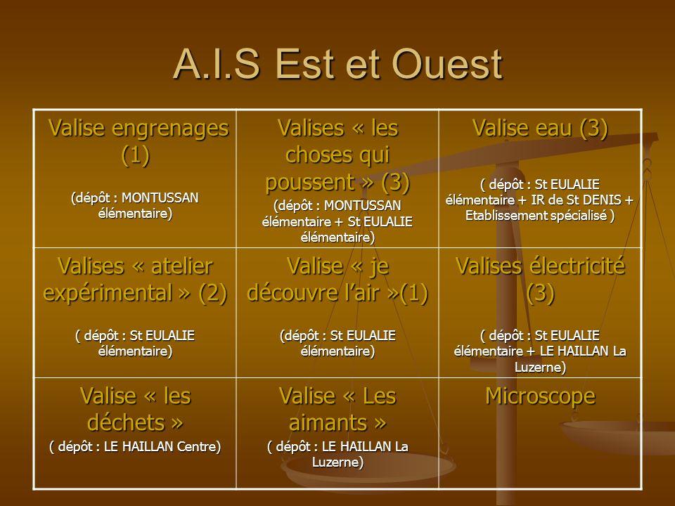 A.I.S Est et Ouest Valise engrenages (1) Valise engrenages (1) (dépôt : MONTUSSAN élémentaire) Valises « les choses qui poussent » (3) (dépôt : MONTUS