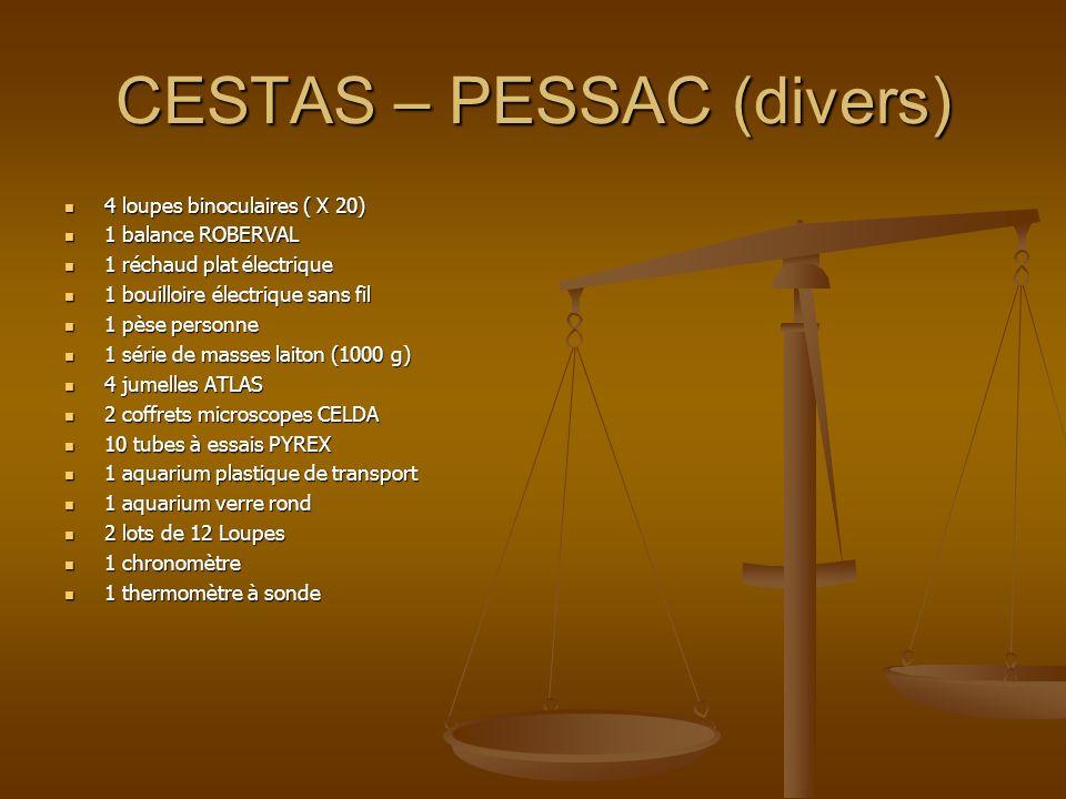 CESTAS – PESSAC (divers) 4 loupes binoculaires ( X 20) 4 loupes binoculaires ( X 20) 1 balance ROBERVAL 1 balance ROBERVAL 1 réchaud plat électrique 1