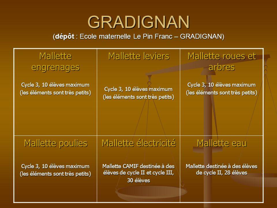 GRADIGNAN (dépôt : Ecole maternelle Le Pin Franc – GRADIGNAN) Mallette engrenages Cycle 3, 10 élèves maximum (les éléments sont très petits) Mallette