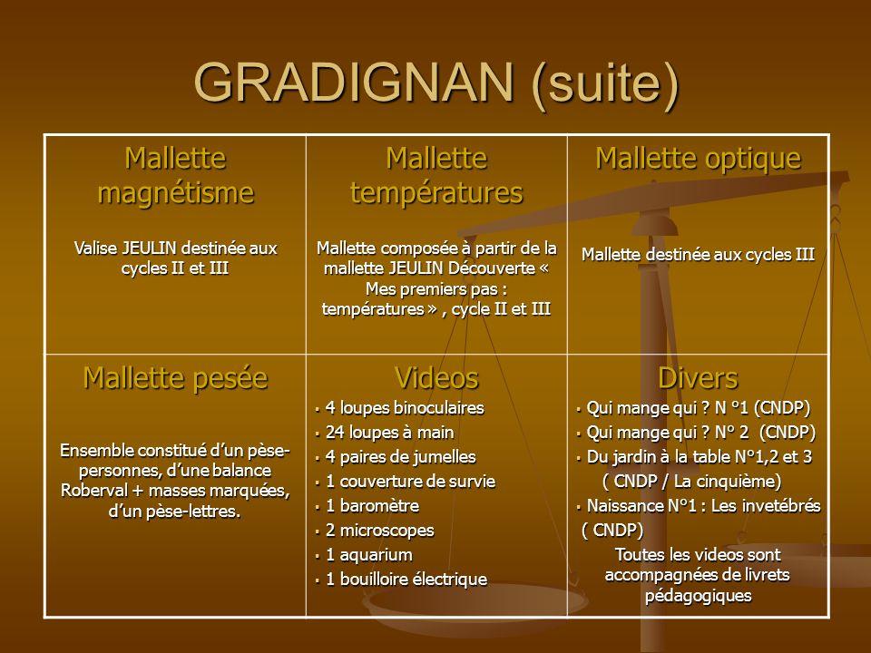 GRADIGNAN (suite) Mallette magnétisme Valise JEULIN destinée aux cycles II et III Mallette températures Mallette composée à partir de la mallette JEUL
