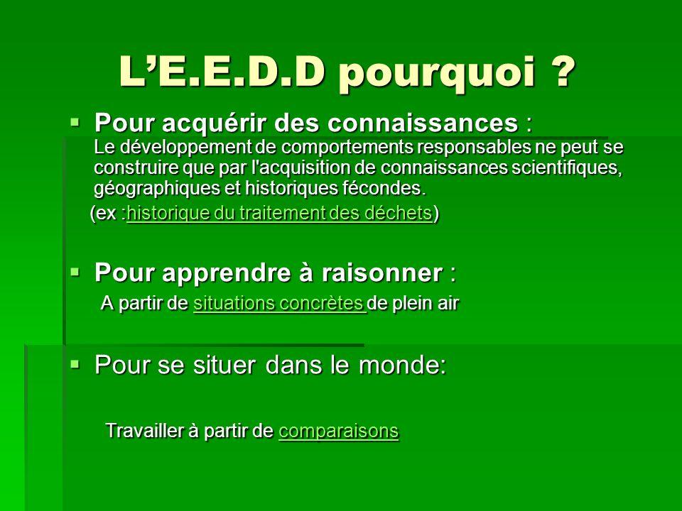 LE.E.D.D pourquoi .