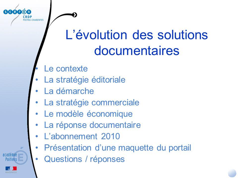 Lévolution des solutions documentaires Labonnement 2010 -La version actualisée du logiciel de gestion documentaire BCDI -La mise à disposition du thésaurus Motbis et de ses mises à jour + -e-sidoc, le portail CDI « clé en main » pour lenseignant documentaliste et les utilisateurs -Lhébergement du portail 24 h sur 24, 7 jours sur 7, assuré par le CRDP de Poitou-Charentes + -Des modules dauto-formation -Un accompagnement par le réseau CRDP/CDDP (maintenance, animation)