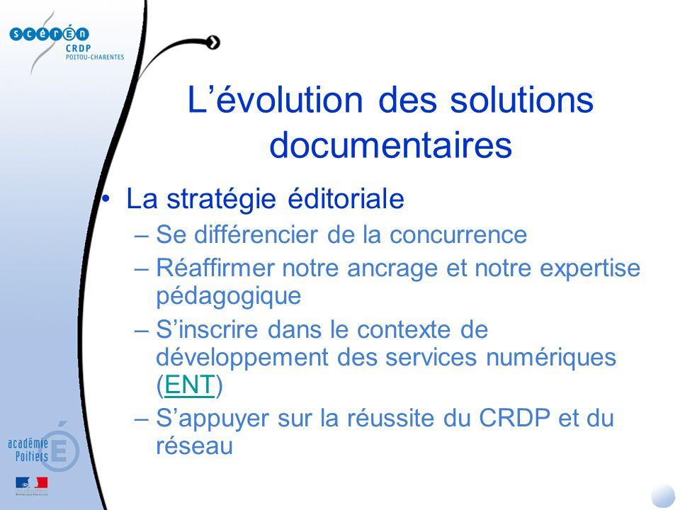 Lévolution des solutions documentaires La stratégie éditoriale –Se différencier de la concurrence –Réaffirmer notre ancrage et notre expertise pédagogique –Sinscrire dans le contexte de développement des services numériques (ENT)ENT –Sappuyer sur la réussite du CRDP et du réseau